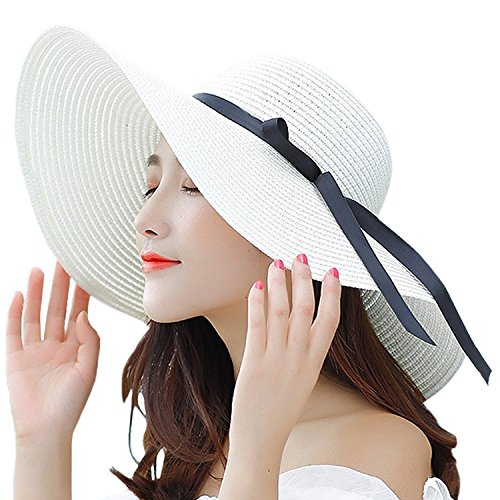 ce2f340ffc6 Women s Big Brim Sun Hat Floppy Foldable Bowknot Straw Hat Summer Beach Hat  UPF 50+
