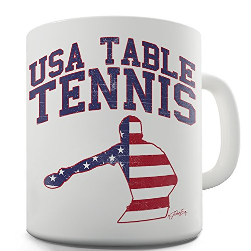 Funny Coffee Mug USA Table Tennis By Twisted Envy 15 OZ