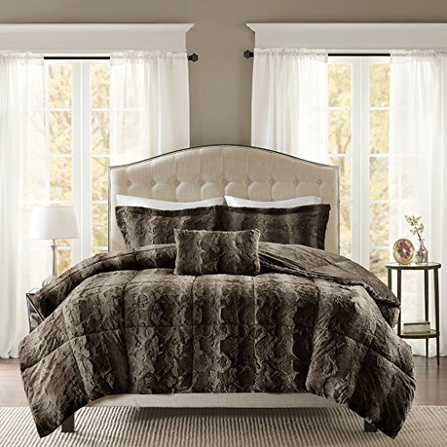(Madison Park Zuri King Size Bed Comforter Set - Chocolate, Animal – 4 Pieces Bedding Sets – Faux Fur Bedroom)