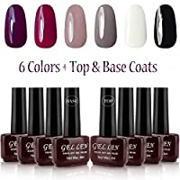 Gellen Classic Gel Nail Polish 6 Colors With Base Coat and Top Coat Home Nail Salon Kit