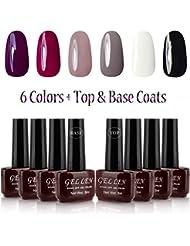 Gellen UV Gel Nail Polish 6 Colors + Base Coat and Top Coats, Classic Elegant Colors Manicure Starter Kit