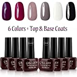 uv nails polish - Gellen UV Gel Nail Polish 6 Colors + Base Coat and Top Coats, Classic Elegant Colors Manicure Starter Kit
