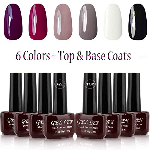 Gellen UV Gel Nail Polish 6 Colors + Base Coat and Top Coats