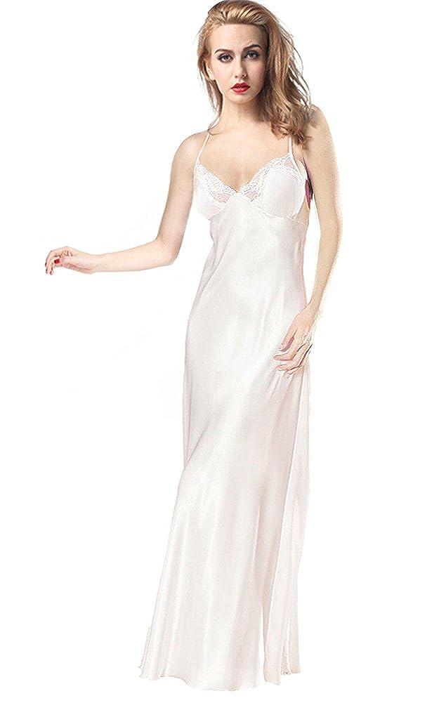 ETAOLINE Women's Lace Nightgown Trimmed Satin Full Length Slip Lingerie Plus Size