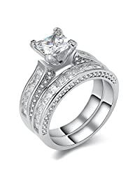 Newshe Jewellery Princess White Cz 925 Sterling Silver Wedding Band Engagement Ring Sets Size 5-10