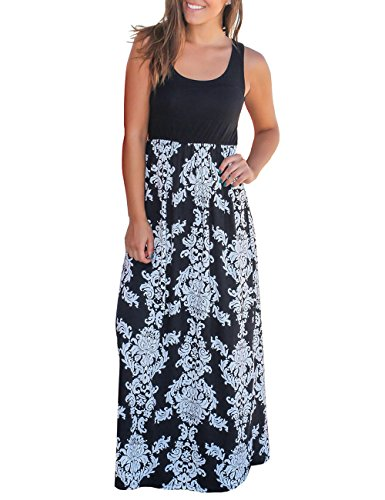 DUNEA Women's Maxi Dress Floral Printed Autumn Sleeveless Casual Tunic Long Maxi Dress (XX-Large, Black2)