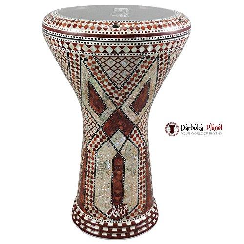 """Gawharet El Fan 17″ Mother of Pearl Darbuka """"Brown Star """" Darbuka Drum Percussion"""