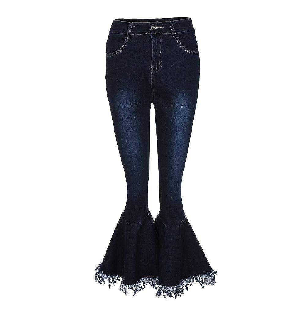Damen Bootcut Jeans Schlaghose Damenjeans Skinny Hüftjeans Freizeit Stretch Hose