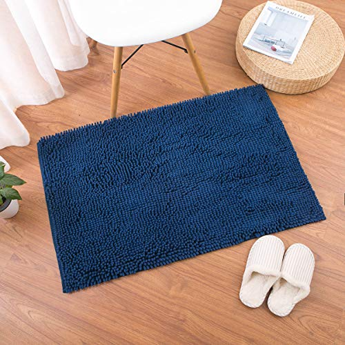 Famibay Bath Mat, Shaggy Chenille Bath Mat Microfiber Hotel Spa Bath Rug and Mat For Bathroom No slip Bath Tub and Shower High Absorbent Soft Large Accent Rugs, 23.6x35.4 Inches Navy by Famibay (Image #6)