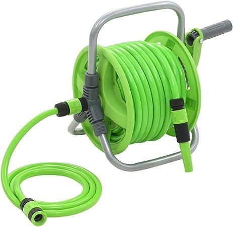 Festnight Carrete de Manguera Ideal para el Riego de Jardines, Irrigación, Limpieza de Vehículos 20+2 m: Amazon.es: Hogar