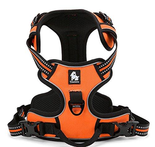 TRUE LOVE Adjustable No-Pull Dog Harness Reflective Pup Vest Harnesses Comfortable Control Brilliant Colors Truelove TLH5651(Orange,M)