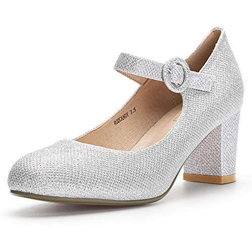 IDIFU Women's RO2 Candy Classic Low Chunky Block Heel Mary Jane Round Toe Buckle Strap Office Work Pumps Shoes (8 M US, Silver Glitter)