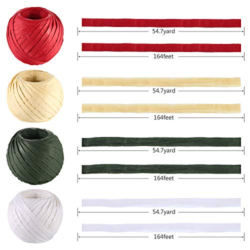 Tatuo 4 Rolls 656 Feet Christmas Raffia Paper Ribbon String Natural Red Green White for Christmas Gift Wrapping Packing Christmas Decoration Supplies