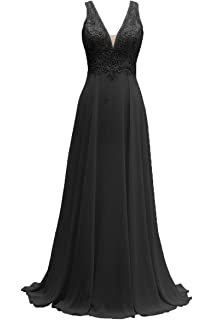 f3aec86eeadb MARSEN V-Neck Bridesmaid Dresses Long Chiffon Lace A-Line Beaded Wedding  Party Gowns