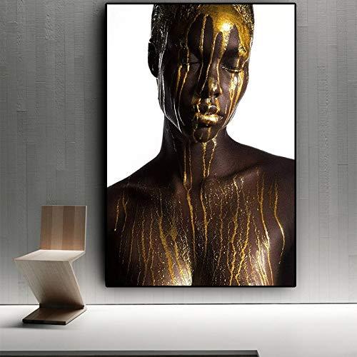 Sin Marco Desnudo Mujer Negra y Dorada Africana Pintura al óleo ...