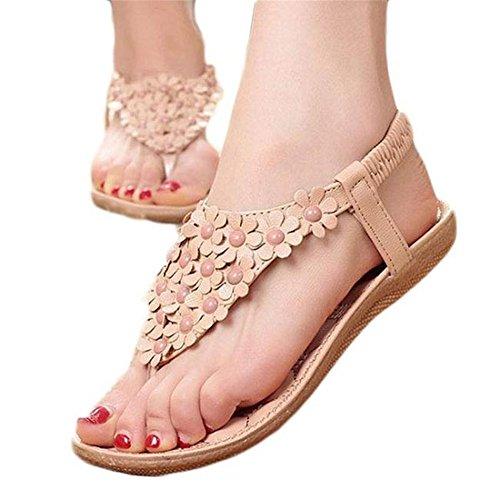 SKY ¡Estilo de Bohemia !!! Mujeres Sweet Summer Bohemia dulces con cuentas sandalias Clip Toe Sandalias Beach Shoes Herringbone Sandals Shoes Caqui
