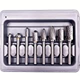 WHISTECK Carbide Burr Set, Double Cut Solid Tungsten Carbide Rotary Burrs,6mm (about 1/4'') Shank Rotary File for Die Grinder Drill, Wood Metal Carving, Polishing, Engraving, Drilling, 8pcs