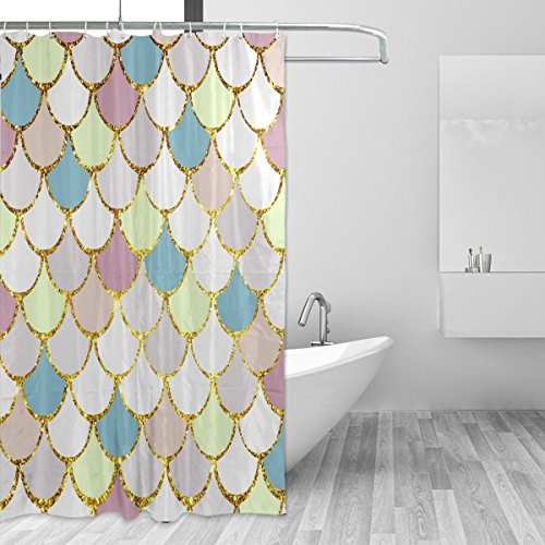 ALAZA Shower Curtain Macaron Mermaid Scales Marble Fish Light Summer Gold Bathroom Shower Curtain Set Fabric Bridal 12 Hooks for Women 72x72 Inch