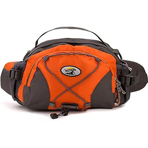 Waterproof Hiking Cycling Waist Bag Multi Function Outdoor Travel Running Fanny Pack , Orange - Lumbar Pack