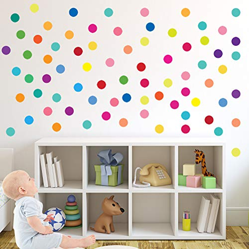 PARLAIM 0140 Rainbow Multi Size Polka Dot Wall Decals, Peel and Stick Wall Stickers Perfect for Kids Room,Living Room…
