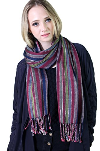 Gypsy Girl Outfits (Women's Jewel Shimmer Multicolor Stripe Scarf, Pashmina Shawl (Blue / Red))