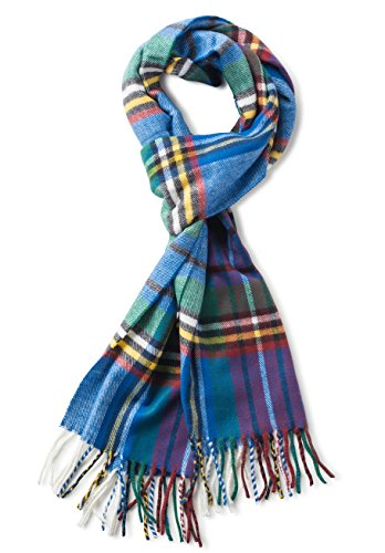 (Veronz Soft Classic Cashmere Feel Winter Scarf, Blue Green Plaid)