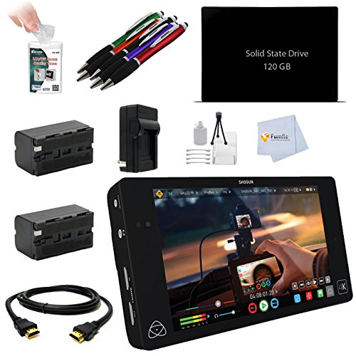 """Atomos Shogun 4K HDMI/12G-SDI Recorder and 7"""" Monitor Video Production Accessory Kit for Sony A7II, A7S, A77II, Alpha SLT -A99, A7 / A7R, RX10, A6000, RX100 III, A5100, NEX-FS700, NEX-FS100, F5, Z100 4K, NEX-VG900, NEX-VG30, NEX-VG20, NEX-VG10, NEX-EA50, PMW-F3K, PMW-EX1R, PMW-200, PMW-100, HXR-NX5, HXR-MC2000, HXR-NX70, HXR-NX30, HXR-MC50, HDR-AX2000, HDR-FX1000, HVR-S270, HVR-Z7, HVR-Z5, HVR-HD1000, FS7 Includes: Atomos Shogun 4K HDMI/12G-SDI Recorder and 7"""" Monitor + 120GB SSD + 2 Batteries & more"""