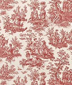 Amazon Com Waverly Country Life Toile Garnet Fabric By