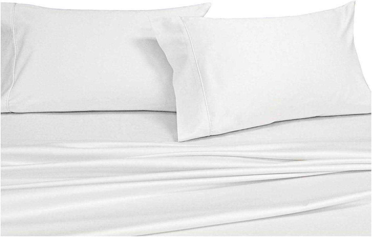 PLUSHY COMFORT Luxury Brand, Split King Sheet Set 5 Piece for Split King Bed Size Only,100 Percent Egyptian Cotton 600 Thread Count, White Plain
