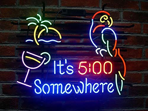 19X15 Inches IT5 Somewhere Parrot Real Glass Neon Light Sign Beer Bar Pub Store Club Garage Home Party Lights Signs with Fast Shipping (Club Bar Pub)