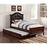 Cherub Twin Size Bed With Trundle In Black And Cherry Brown