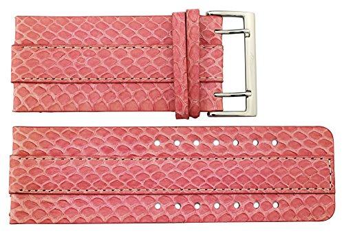 Moog Paris Pink Fresh Water Snake Skin Watch Band, Snake Skin Pattern, Pin Clasp, 34mm Strap -