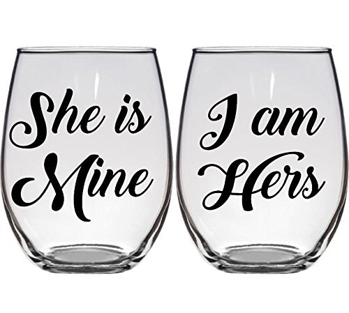 Amazon.com: Lesbian Wedding Gift Wine Glasses She is Mine, I Am ...