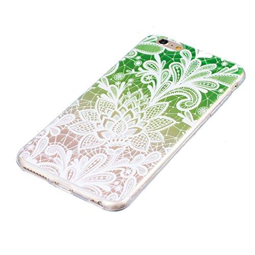 """Coque iPhone 6 Plus / 6S Plus, IJIA Ultra-mince Transparent Dégradé Vert Fleur Dentelle TPU Doux Silicone Bumper Case Cover Shell Housse Etui pour Apple iPhone 6 Plus / 6S Plus 5.5"""" + 24K Or Autocolla"""