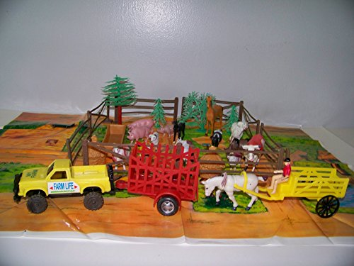 DELUXE FARM ANIMALS AND FARM VEHICLE TOY PLAYSET -Horses, Cows, Wagons, Sheep, & Pigs ~ Barnyard Fun!