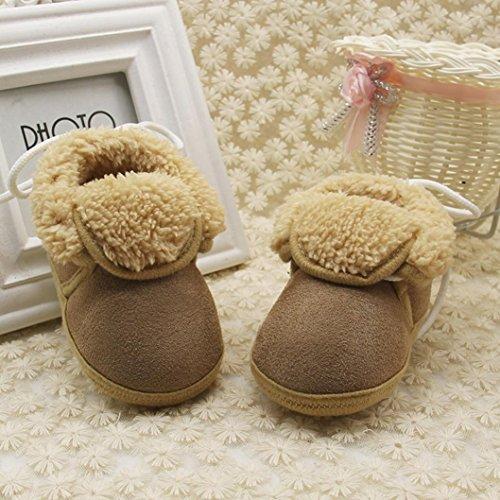 Igemy Kleinkind Neugeborene Baby Solid Soft Sole Stiefel Prewalker Warm Schuhe 1 Paar Braun
