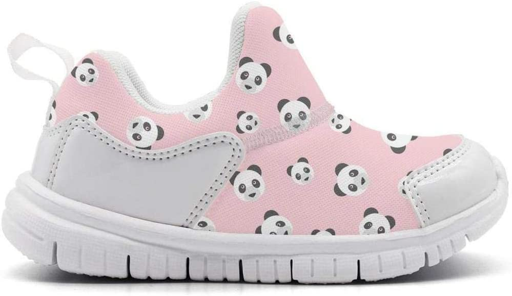 ONEYUAN Children Panda Bear Head on Pink Background Kid Casual Lightweight Sport Shoes Sneakers Walking Athletic Shoes