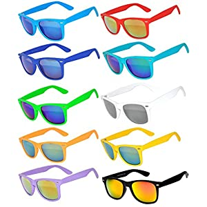 10 Ten Classic Vintage Full Mirror Lens Sunglasses Colored Frame Matte Retro (10pairs, Mirror)