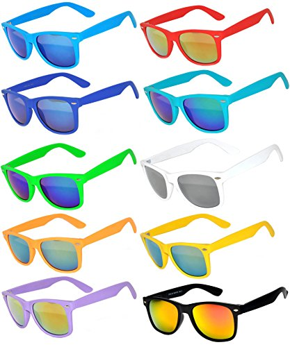 10 Ten Classic Vintage Full Mirror Lens Sunglasses Colored Frame Matte Retro (10pairs, - Online Vintage Frames