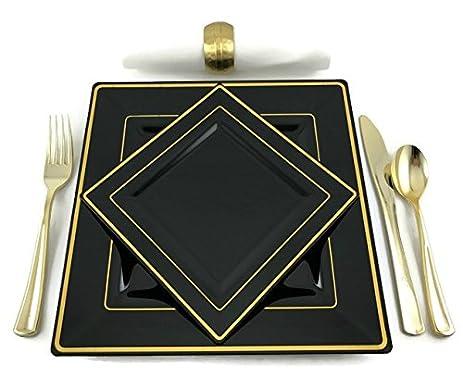 Square Black Disposable/Reusable Plastic Plates With Gold Rim 20 Pack-10-9.5  sc 1 st  Amazon.com & Amazon.com: Square Black Disposable/Reusable Plastic Plates With ...