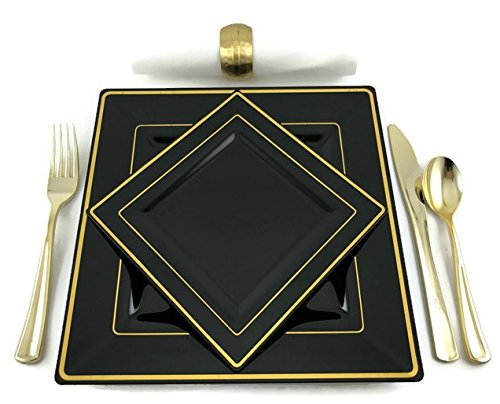 Premium Square Black and Gold Rim Disposable Plastic Plates For Wedding and Party Pack of 20 - 10 (9.5 inch) Dinner Plates and 10 (6.5 inch) Cake and Salad/Dessert plates