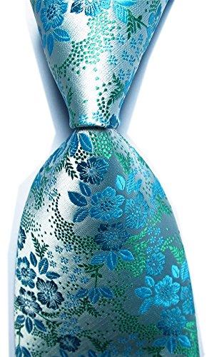 Blue Pattern Tie (Xiessi Men's Classic Cyan Blue Jacquard Woven Silk Tie Microfiber Formal Necktie)