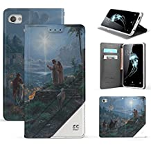 Spots8 Case For Alcatel Idol 5 6060C, Alcatel Nitro 5, Faux Leather Hybrid Flip Wallet Cover With Phone Strap Built In Kickstand Card Slots And Invisible Magnetic Closure Star Of Jesus Peace Love