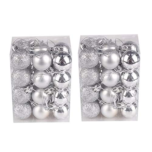 Hot Sale!DEESEE(TM)48PC 30mm Christmas Xmas Tree Ball Bauble Hanging Home Party Ornament Decor (Silver)