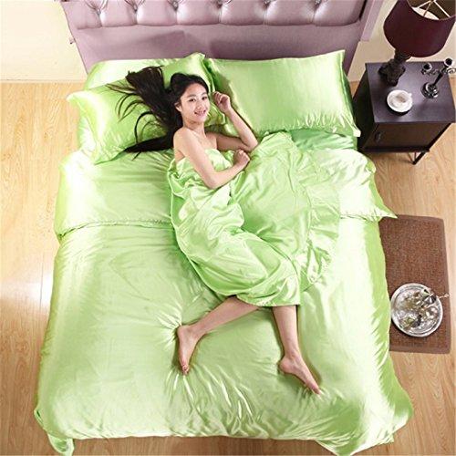 - RESTPN 100% Pure Satin Silk Bedding Set,Home Textile King Size Bed Set,Bedclothes,Duvet Cover Flat Sheet Pillowcases Army Green Family suite 5pcs
