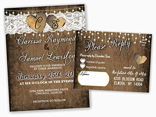 Personalized Wedding Invitations Rustic Heart with RSVP Cards Set of 125