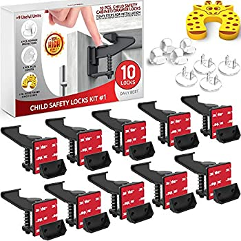 Cupboard Locks Baby Security Latches – 10 Pack Cupboard Locks for Infants – Adhesive Baby Proof Cupboard Locks – Baby Security Cupboard Locks – Nook & Door Guards, Socket Covers