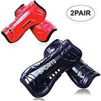 Youth Soccer Shin Guards, 2 Pair Lightweight and...