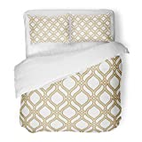 SanChic Duvet Cover Set Silver Damask Abstract Pattern in Arabian Style Gold and White Graphic Modern Geometric Decorative Bedding Set with 2 Pillow Shams Full/Queen Size