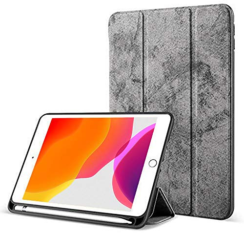 Robustrion Marble Series Trifold Hard Back Flip Case Cover with Pencil Holder for iPad 10.2 inch seventh Generation 2019 – Grey